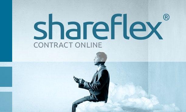 Geschäftsmann mit Handy auf einer Wolke und Shareflex Contract Online Logo