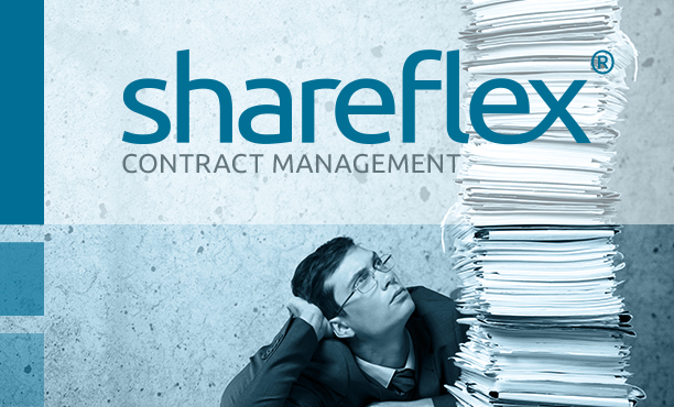 Businessman looking at a stash of documents with Shareflex Contract logo