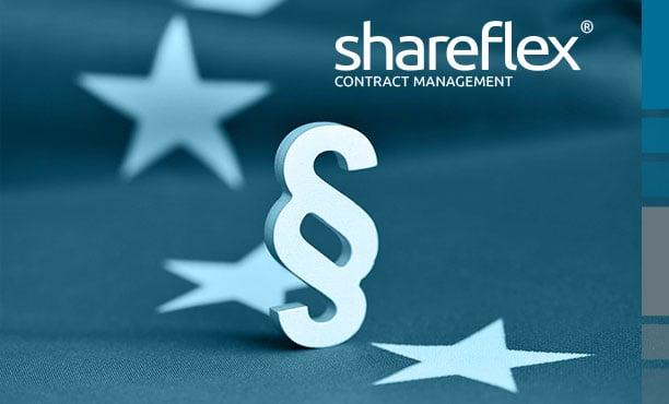 Paragraph-Symbol auf EU-Flagge und Logo Shareflex Contract Management